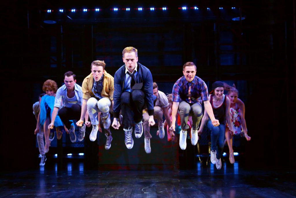 The Jets play it 'Cool' in WEST SIDE STORY onstage at Connecticut Repertory Theatre July 7-17, 2016. (Gerry Goodstein for UConn)