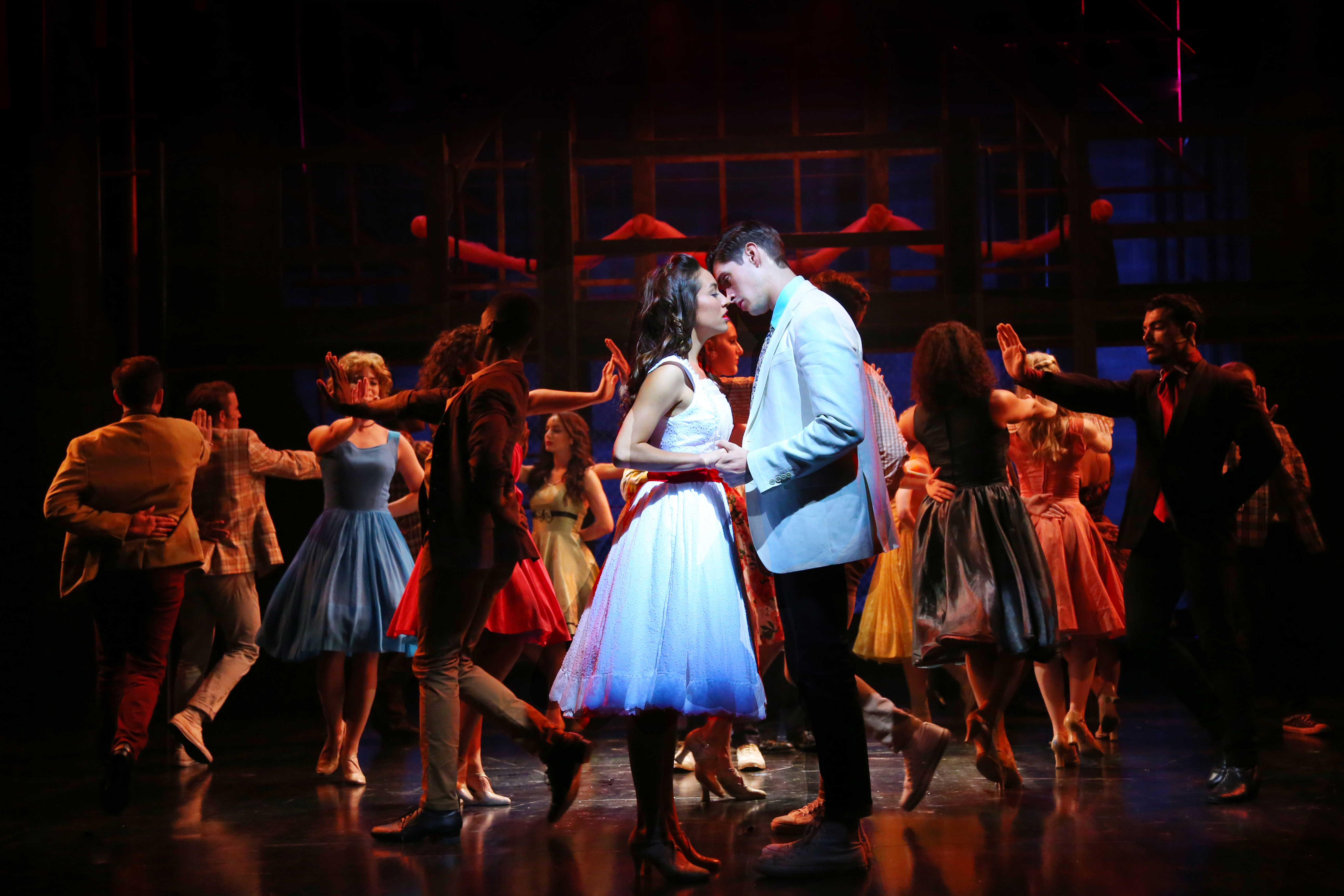 Julia Estrada (Maria) and Luke Hamilton (Tony) in WEST SIDE STORY onstage at Connecticut Repertory Theatre July 7-17, 2016. (Gerry Goodstein for UConn)