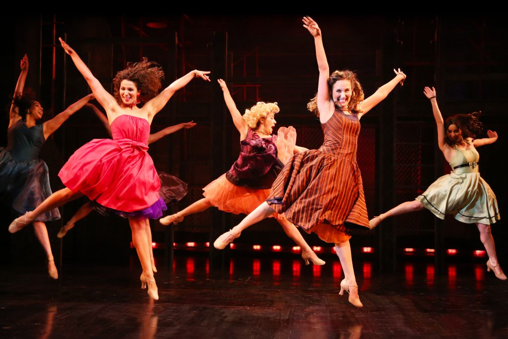 L to R: The Shark Girls: Janayla Montes (Francisca), Cassidy Stoner (Anita), Susie Carroll (Consuela), Rosalia (Tori Gresham) and Margarita (Rebekah Morgan Berger) in WEST SIDE STORY onstage at Connecticut Repertory Theatre July 7-17, 2016. (Gerry Goodstein for UConn)