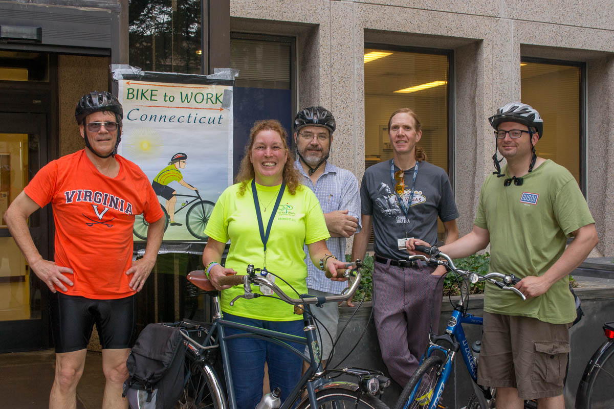 From left: Dr. Frank Nichols, Joyce Fritz, Dr. Philip P. Smith, Josh Mills, and Chris DeFrancesco at the July bike to work event outside the public safety entrance. (Photo by Tina Encarnacion)