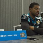 February 3, 2016; San Jose, CA, USA; Carolina Panthers Defensive back and UConn graduate Robert McClain addresses the media during a press conference prior to Super Bowl 50 at San Jose Convention Center. (Kyle Terada-USA TODAY Sports)