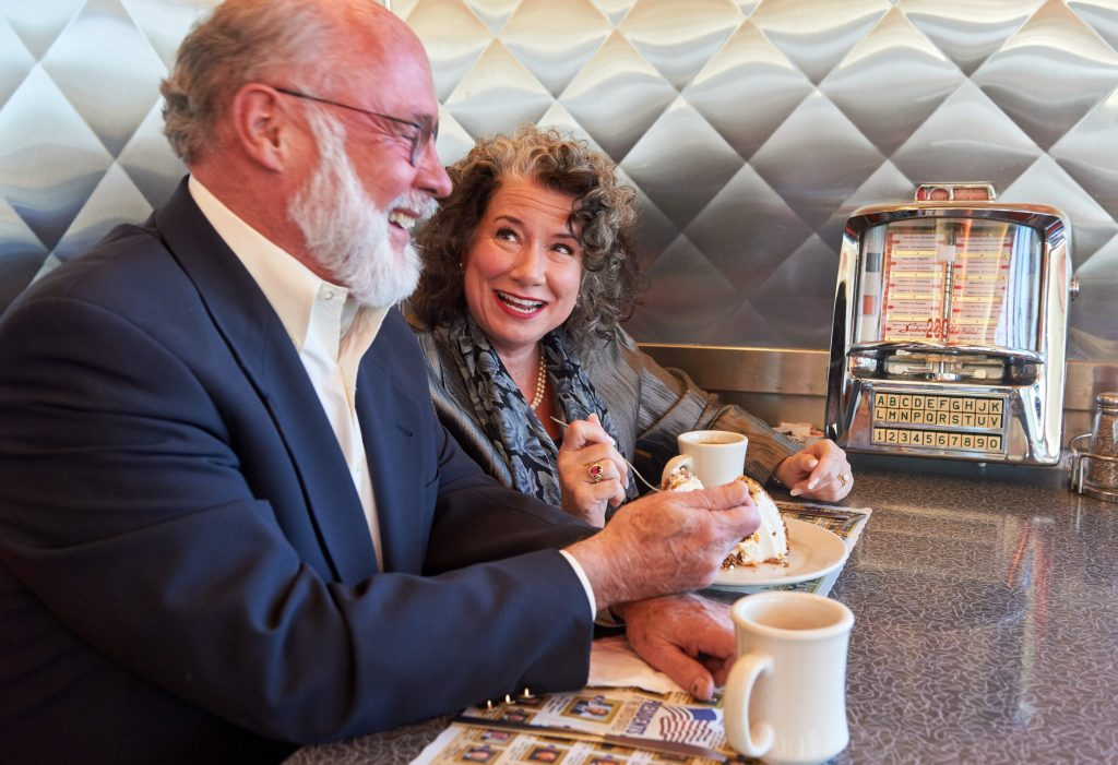 Regina Barreca with her husband, Michael Meyer, at the Aero Diner in North Windham on March 11, 2016. (Peter Morenus/UConn Photo)