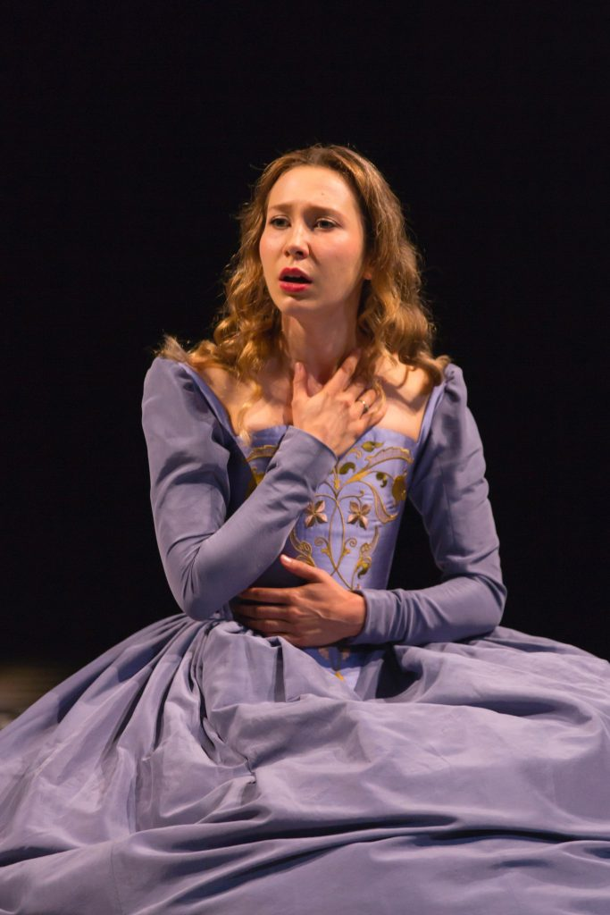 """Brittany Vicars as Ophelia in the Hartford Stage production of """"Hamlet,"""" The costume is part of the exhibition"""" """"First Folio! The book That Gave Us Shakespeare"""" at the Benton Museum of Art. (T. Charles Erickson Photo)"""