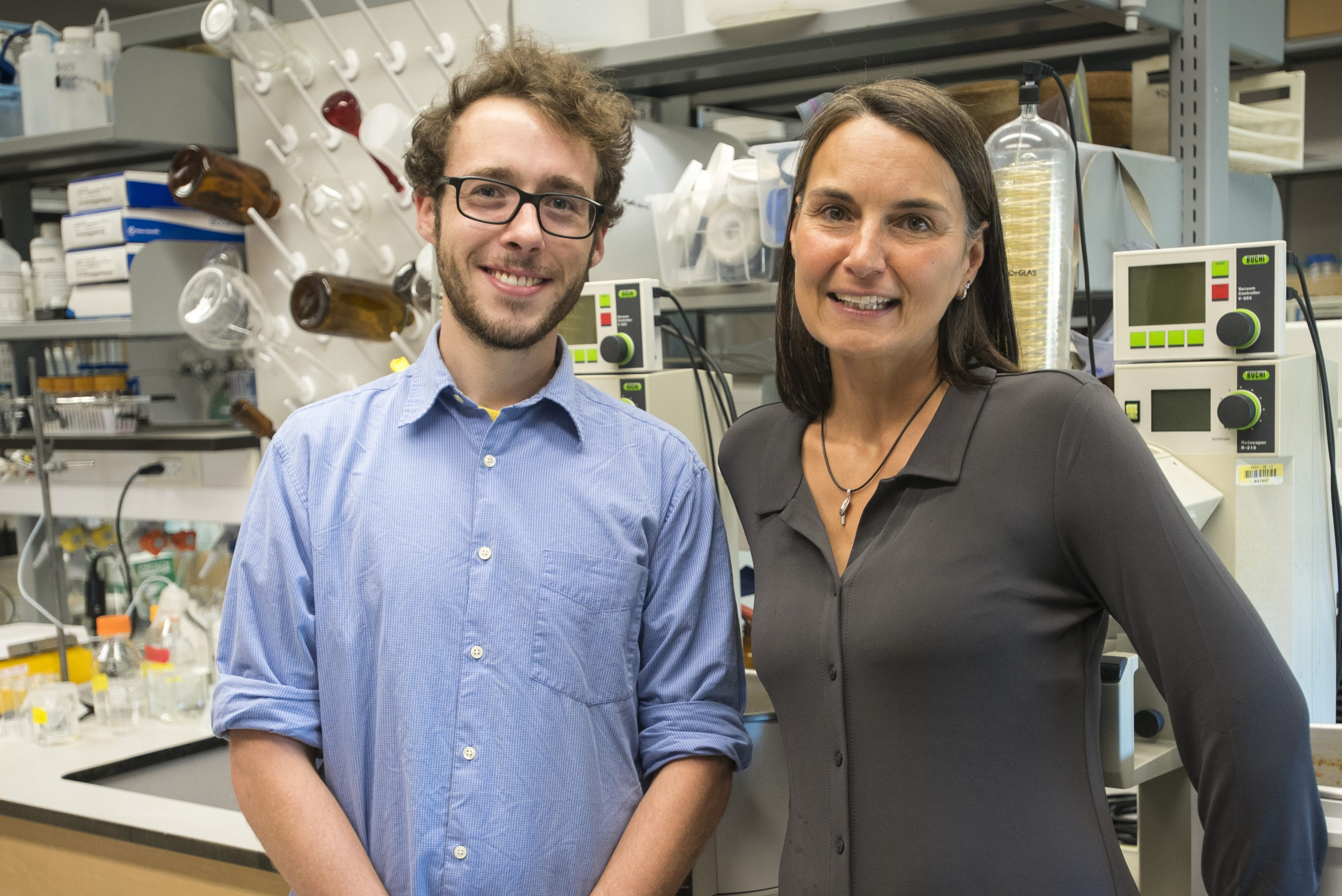 Professor Penny Vlahos, and graduate assistant Joe Warren recipients of a grant from the University's new National Science Foundation Innovation Corps Site, Accelerate UConn on Aug. 18, 2016. (Sean Flynn/UConn Photo)