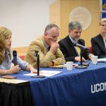 An interdisciplinary panel of UConn experts offered perspectives on the upcoming Presidential election during a public event moderated by President Herbst at the Hartford Public Library on Sept. 22. (Peter Morenus/UConn Photo)