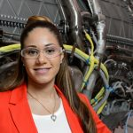 Melissa Jacques, a 2010 graduate in engineering, found a job working with jet engines at Pratt & Whitney soon after graduating. (Peter Morenus/UConn File Photo)