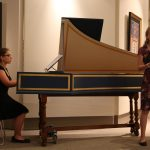 Christine Goss '18 (SFA), playing the harpsichord, and soprano Sarah Himmelstein '17 (SFA) are members of UConn's Collegium Musicum who will perform 'Shakespeare's Songbook' music from the plays of William Shakespeare at 8 p.m., on Friday, Sept. 23 at the William Benton Museum of Art. (Photo by Matthew Pugliese.)