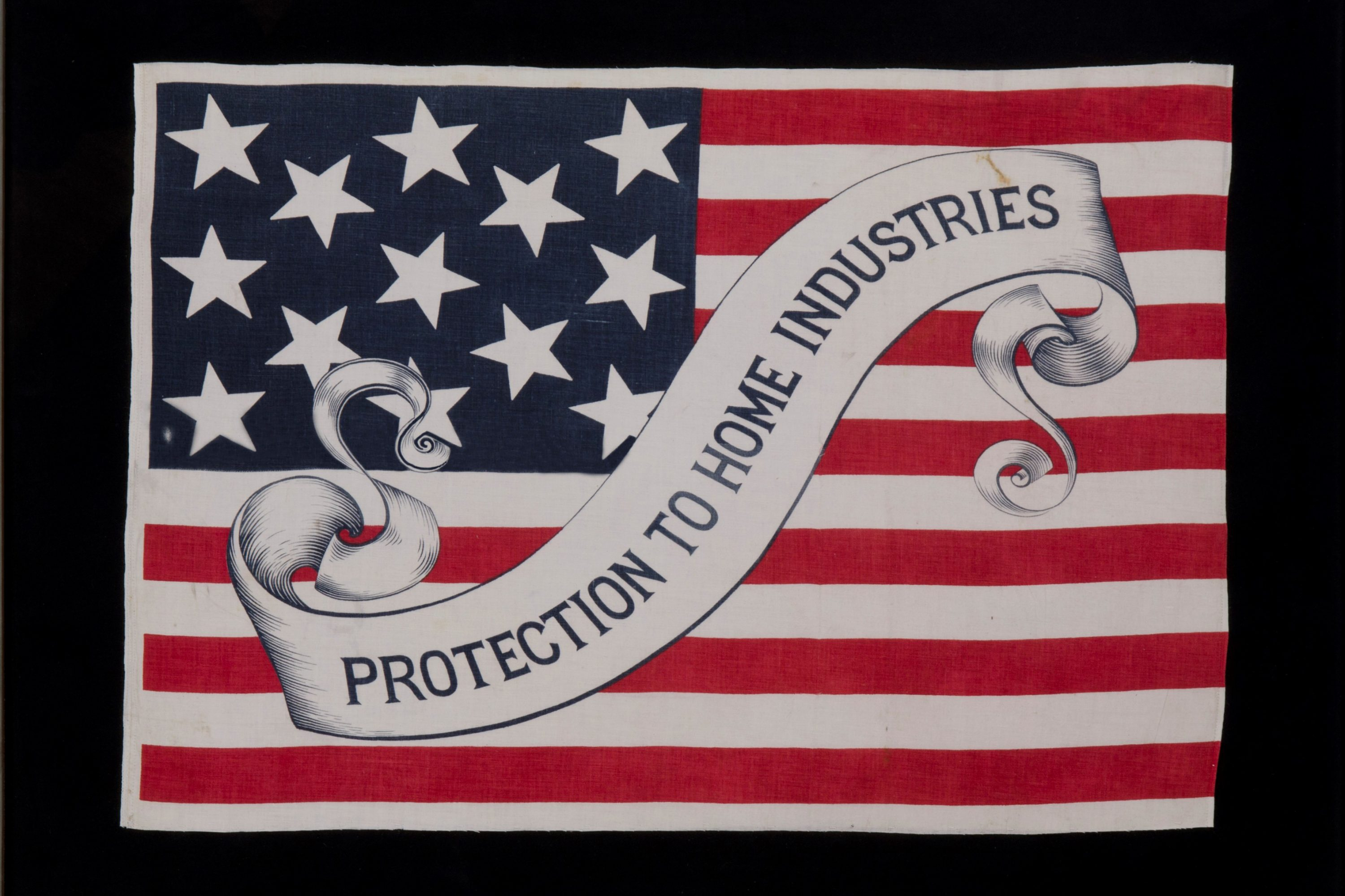The more than 60 antique campaign flags on exhibit at the Benton convey messages crafted by moneymaking businesses rather than by the presidential candidates themselves. They also feature a variety of stars and stripes, because they date before the country adopted an official flag design.