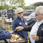 Nick Zecchino operated the grill for friends and family at Saturdays tailgate for the Syracuse game. Sept. 24, 2016. (Garrett Spahn '18 (CLAS)/UConn Photo)