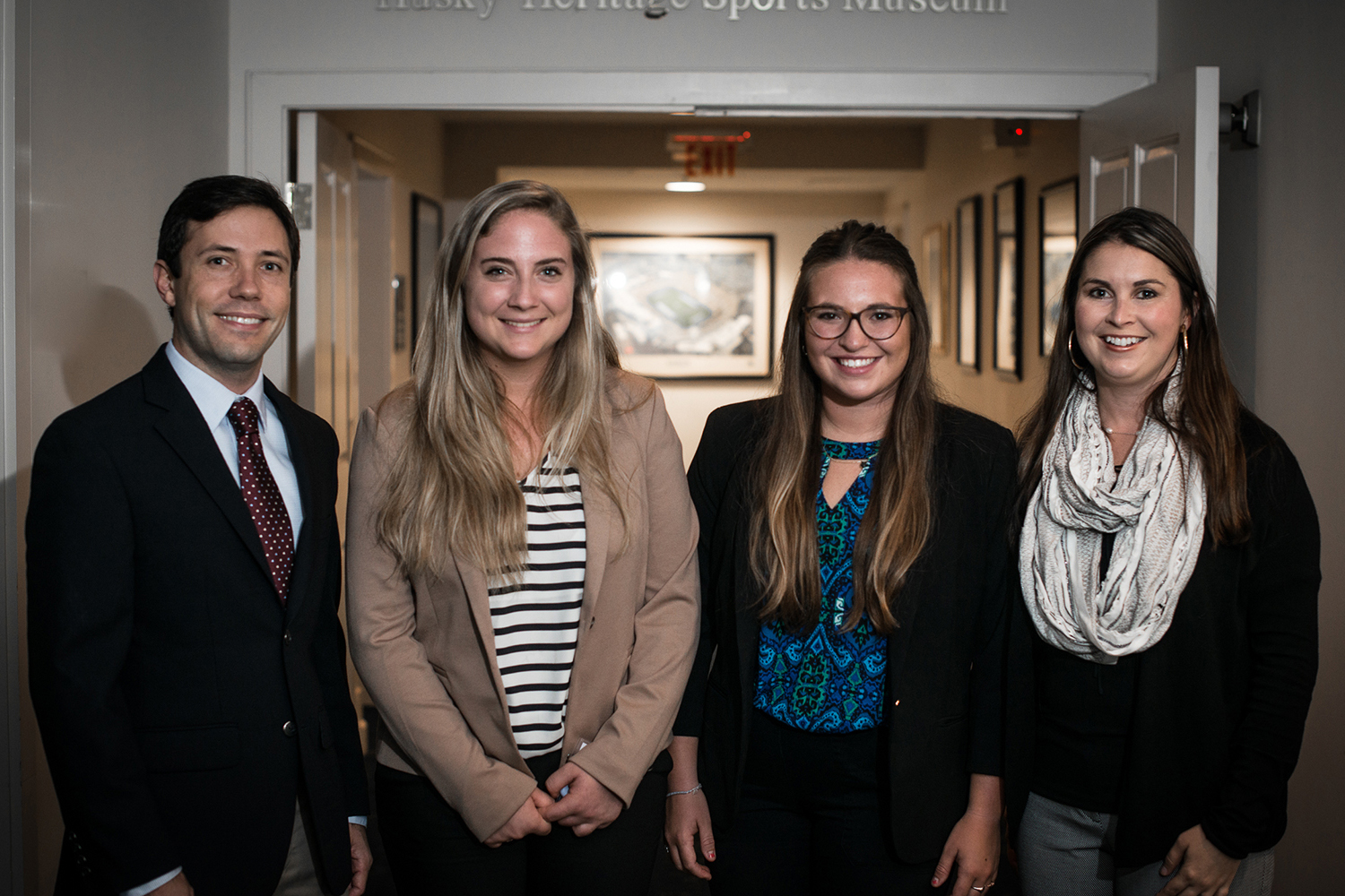 The creators of LambdaVision with two undergraduate student interns who helped represent the company during the CCEI fellowship and again at the Wolff competition. From left, Dr. Jordan Greco '10 (CLAS), '15 Ph.D., Molly Zgoda '17 (CLAS), Audrey Gallo '17 (CLAS), and Dr. Nicole Wagner '07 (CLAS), '13 Ph.D. (Nathan Oldham/UConn photo)