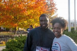 Left to right, Frankie Richardson '14 (accounting) and Danielle Wellington '15 (accounting) participated in the Huskies Forever 5k on Sunday morning.  Oct. 16, 2016. (Garrett Spahn/UConn Photo)