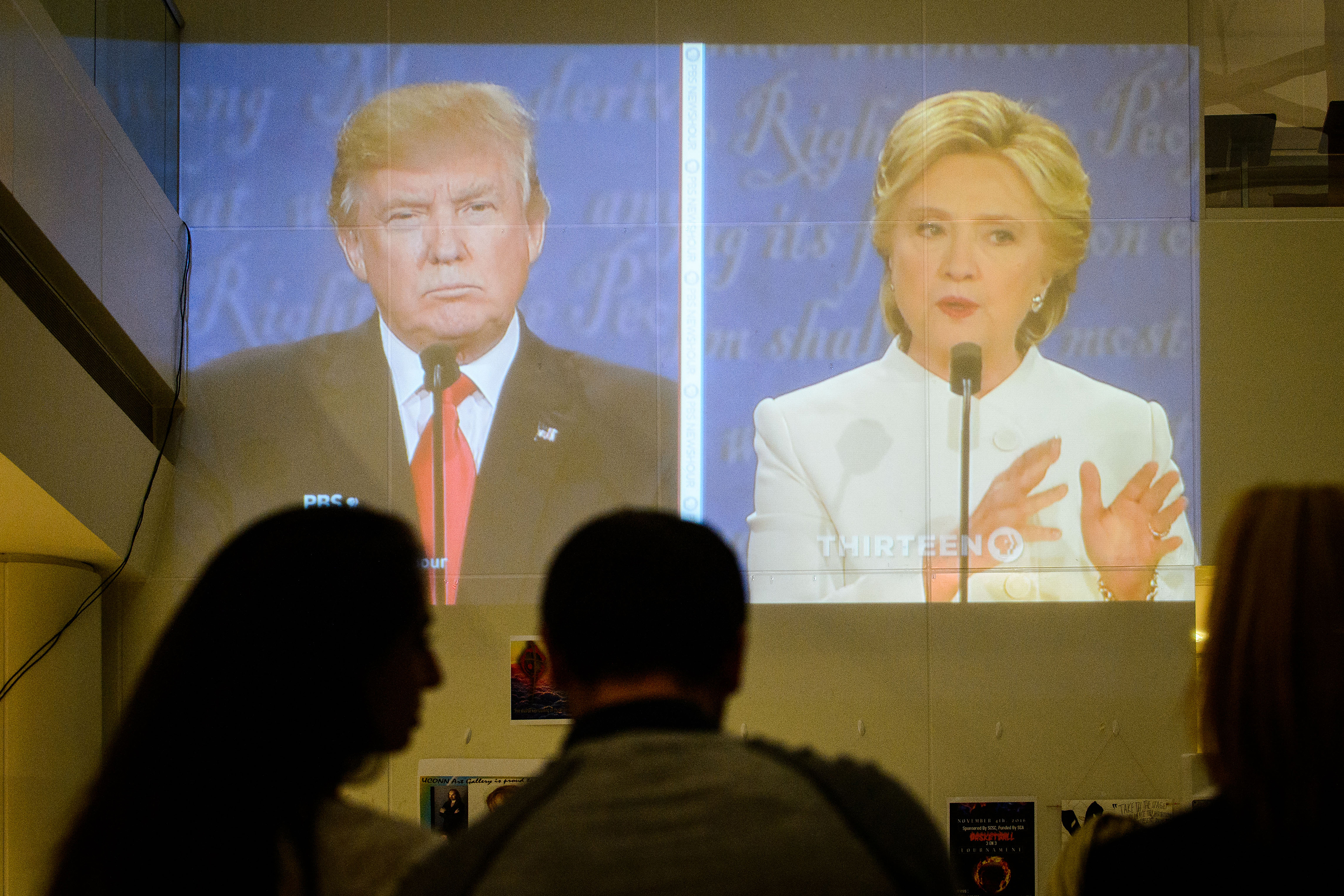Students, faculty, and staff watch the third presidential debate in the Rich Concourse at the Stamford campus on Oct. 19, 2016. (Peter Morenus/UConn Photo)
