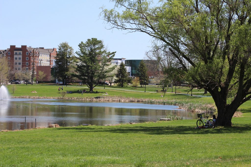 Mirror Lake with Storrs Center and Fine Arts buildings in the background. (Bri Diaz/UConn Photo)