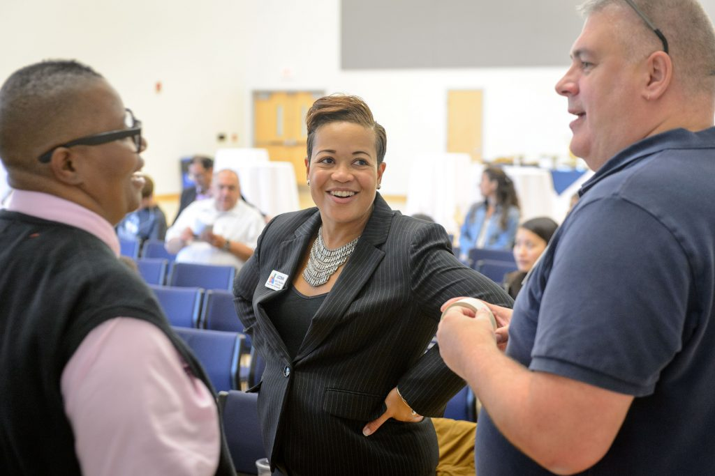 Joelle Murchison speaks, center, speaks with Fleurette King, director, and William Malavé, administrator at the Rainbow Center before a forum on the recent violence seen in Orlando held at the Student Union Ballroom on Oct. 4, 2016. (Peter Morenus/UConn Photo)