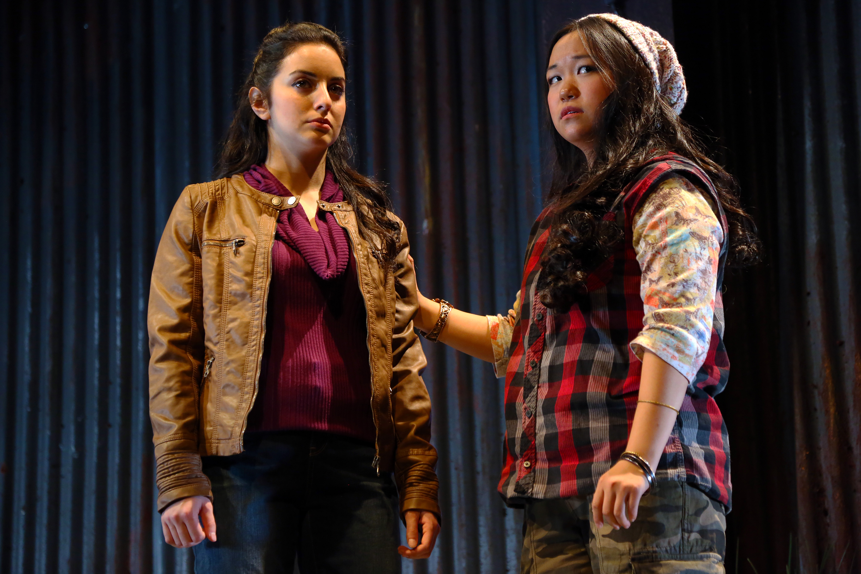 Rebekah Berger, BFA Acting '19 and Pearl Matteson, BFA Acting '19 in NUEVO CALIFORNIA by Bernardo Solano and Allan Havis, onstage through Nov 6, 2016 in Connecticut Repertory Theatre's Studio Theatre. (Gerry Goodstein for UConn)