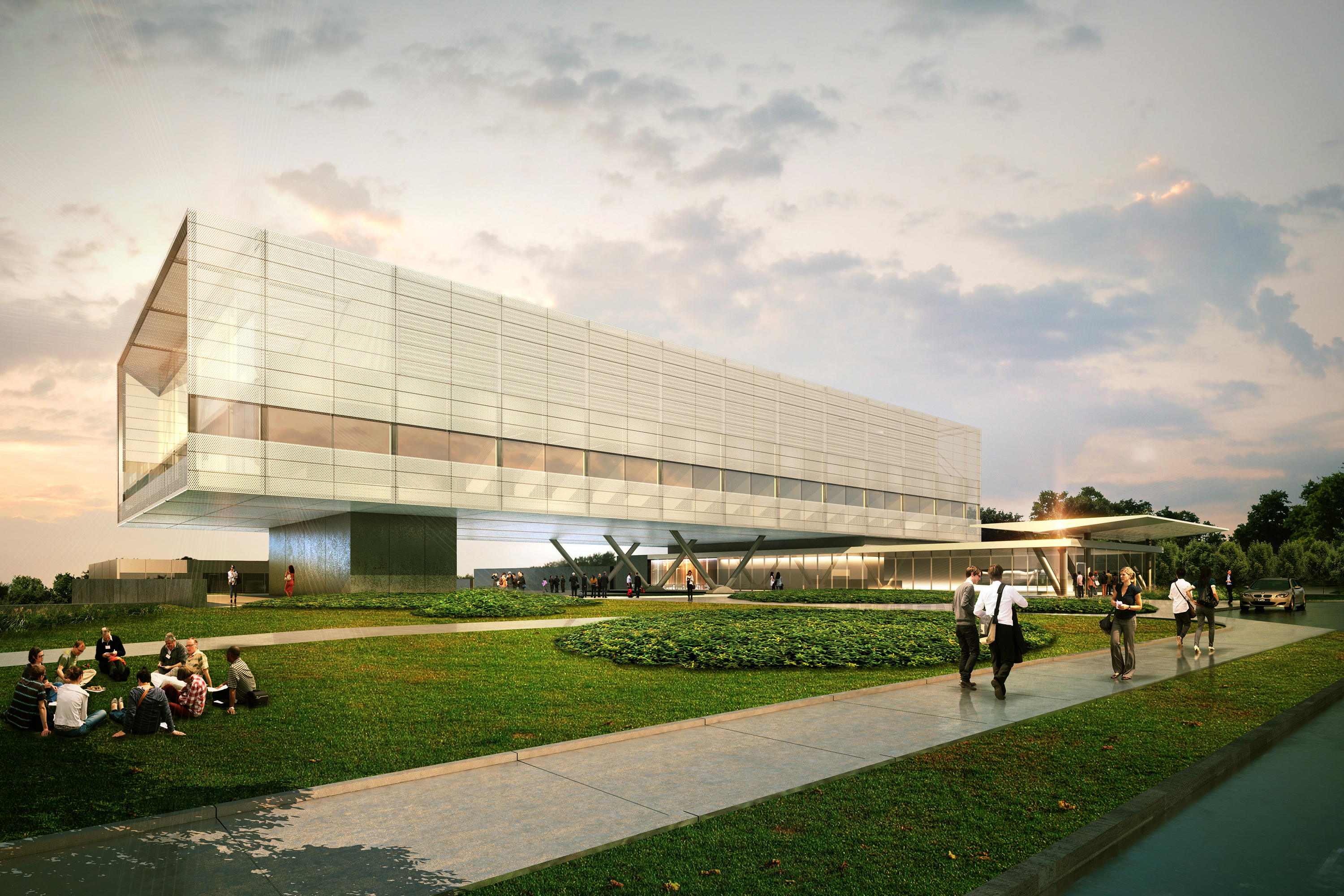 An artist's rendering of the future Innovation Partnership Building to be located at the UConn Technology Park. (Image courtesy of Skidmore, Owings & Merrill)