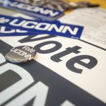 Signs to promote voter registration. (Sean Flynn/UConn Photo)