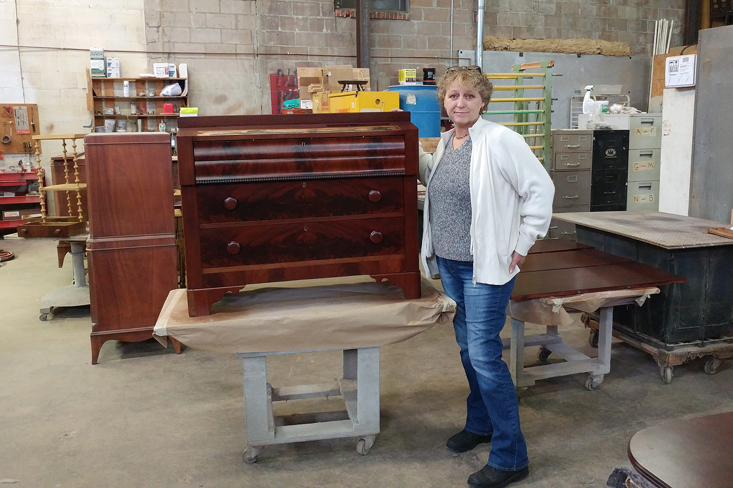Brenda Weinle, an antique restorer from East Hartford and a lung cancer survivor.
