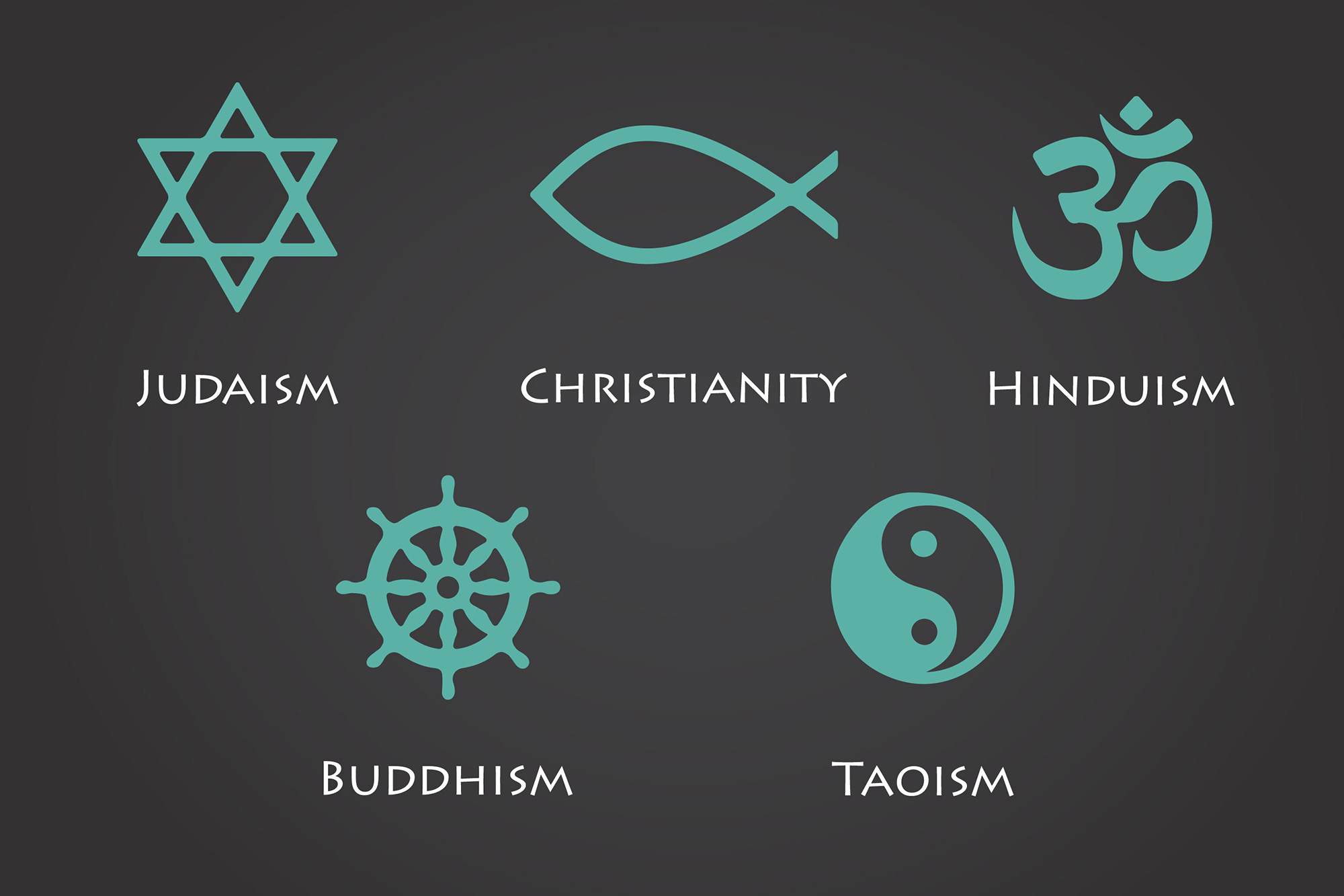 Selected world religion symbols. (Abscent84/Getty Images)
