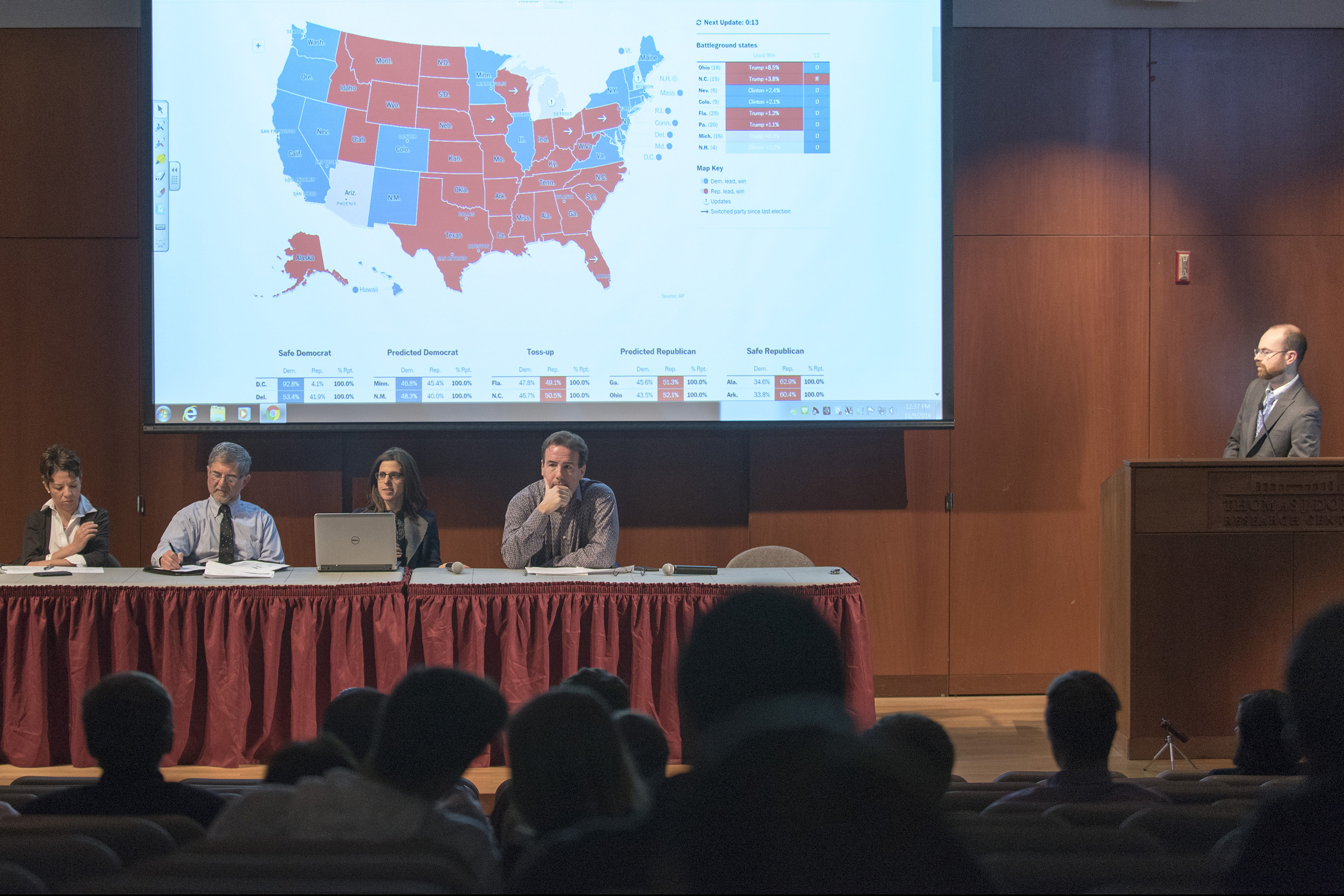 A panel of political science and public policy faculty discuss the results of Election 2016. Panelists are: from left, Evelyn Simien, Paul Herrnson, Jennifer Dineen, and Sam Best. The moderator was Thomas Hayes. (Sean Flynn/UConn Photo)