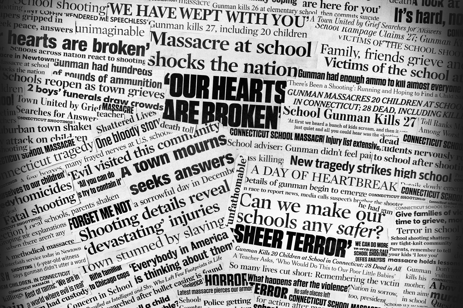 A collage made up of newspaper clippings pertaining to the December 2012 school shooting massacre in Newtown, Conn. (Allkindza/Getty Images)