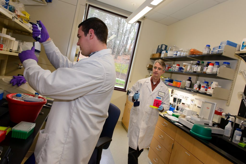 Ryan Beach, research scientist, left, uses the kit to identify bacteria in 96 microbiome samples by pipetting liquids into the samples as part of the process. Mark Driscoll, right, holds a pipettor in his right hand and tubes of general laboratory reagents in his left. (Janine Gelineau/UConn Health Photo)