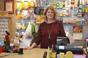 Debbie Baril in the gift shop