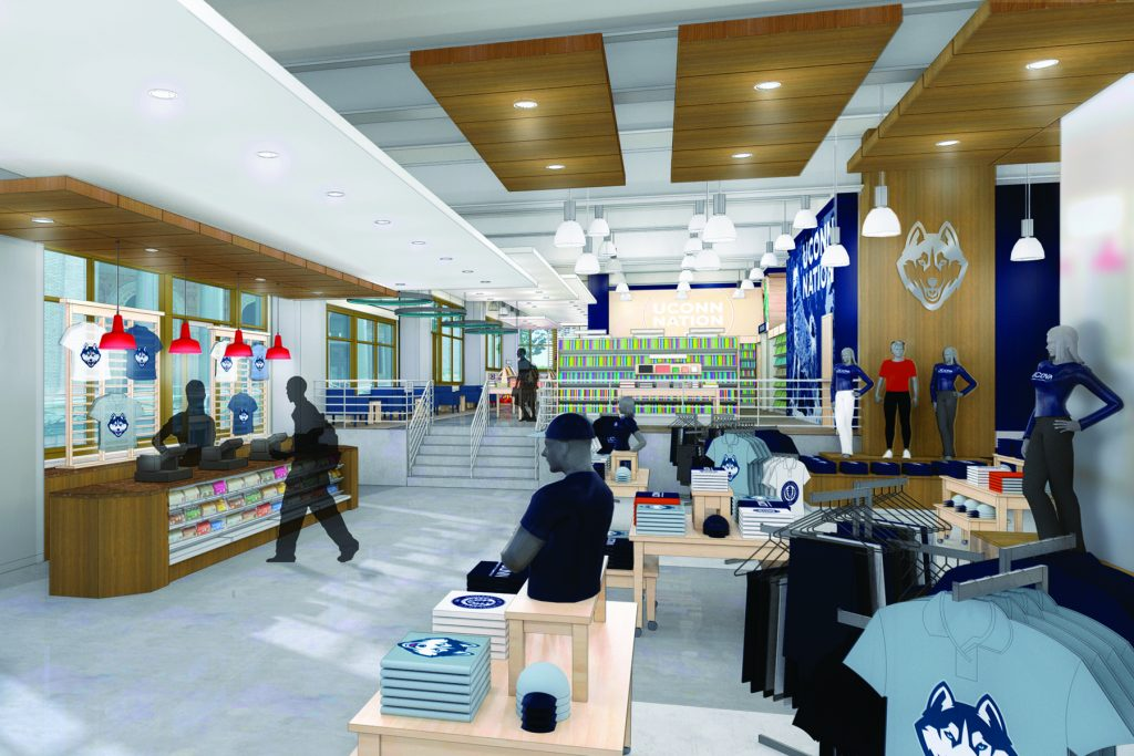 The Barnes & Noble store, to be located on the first floor of the Front Street Lofts building, just across from the main entrance to the new UConn downtown campus, will include a Starbucks café, a large selection of trade and text books, an extensive variety of Husky-branded clothing and merchandise, a 'grab-and-go' style food market, seating inside and outside, and many other features.
