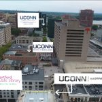 A bird's eye view of Hartford, showing the site of the new Downtown Campus in relation to other resources in the city. (Elizabeth Caron/UConn Photo)