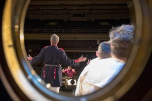A view from backstage during the dress rehearsal of H.M.S. Pinafore at Jorgensen on Jan. 24, 2017. (Sean Flynn/UConn Photo)