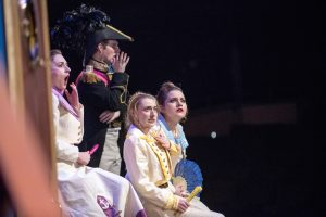 From left, Jessica Bloch '17 (SFA), Jon Dyson '18 (SFA), Sarah Himmelstein '17 (SFA), and Kayla Fore '17 MA from backstage at Jorgensen, before the dress rehearsal of H.M.S. Pinafore on Jan. 24, 2017. (Sean Flynn/UConn Photo)