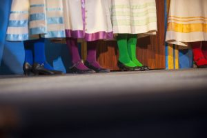 Colorful tights displayed at the dress rehearsal for UConn Opera's production of H.M.S. Pinafore at Jorgensen Center for the Performing Arts on Jan. 25, 2017. (Sean Flynn/UConn Photo)