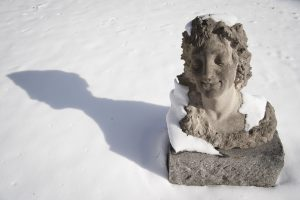 A sculpture covered with snow on Jan. 9, 2017. (Sean Flynn/UConn Photo)