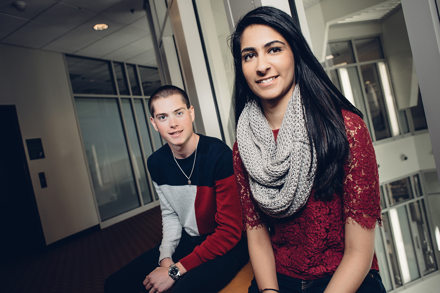 Jeffrey Noonan, left, and Kavisha Thakkar have been selected as two of UConn's Leadership Legacy scholars, an honor bestowed on the University's most exceptional students, who have demonstrated leadership, personal accomplishment and academic excellence. (Nathan Oldham/UConn photo)