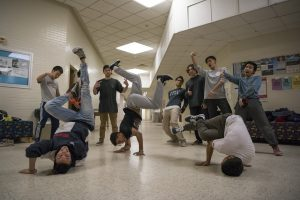 Members of the Breakdance Club dance in the Math-Science Building on Feb. 2, 2017. (Ryan Glista/UConn Photo)