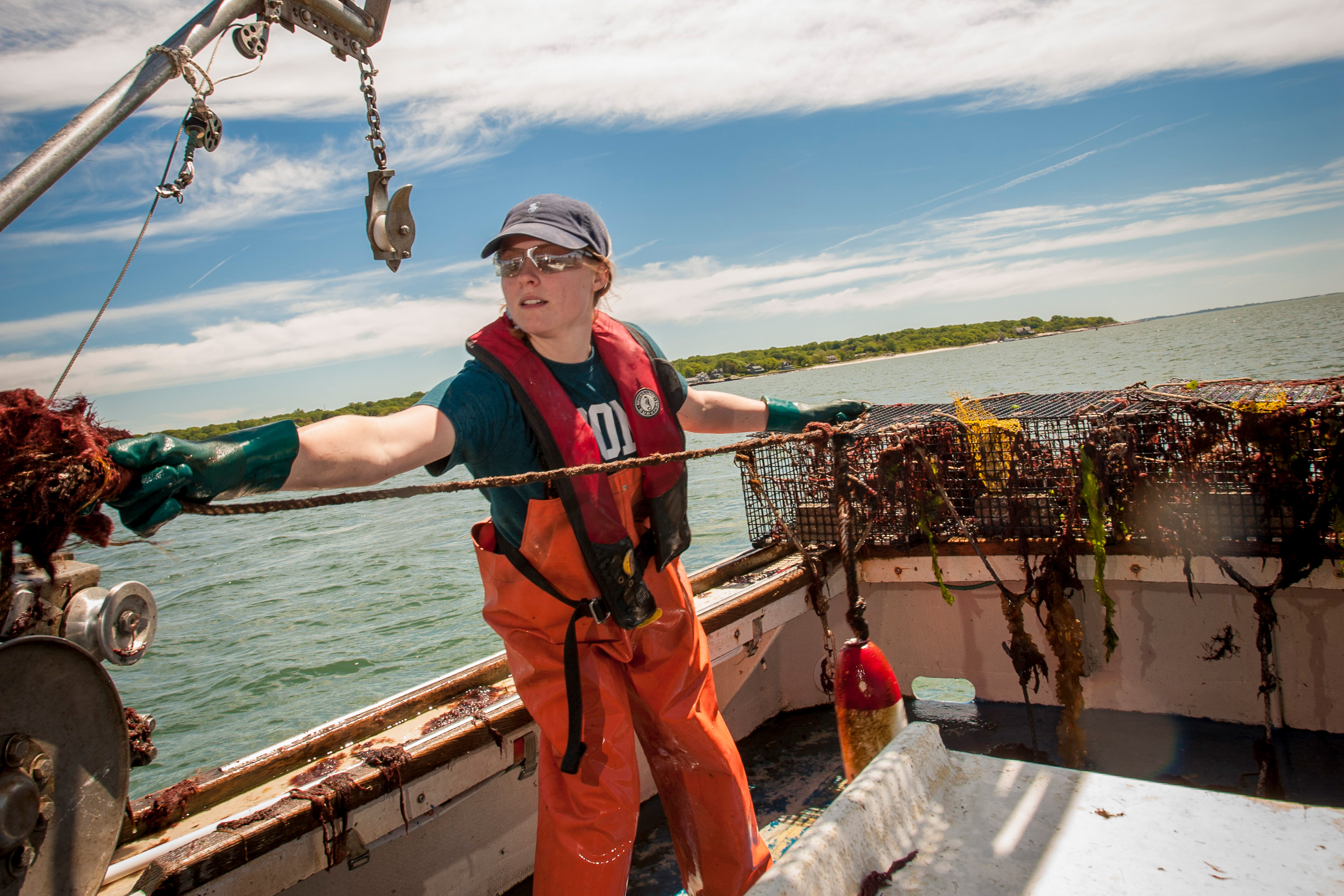 Undergraduate Hannah Casey spent summer 2016 doing environmental science research in Long Island Sound. (Sean Flynn/UConn Photo)