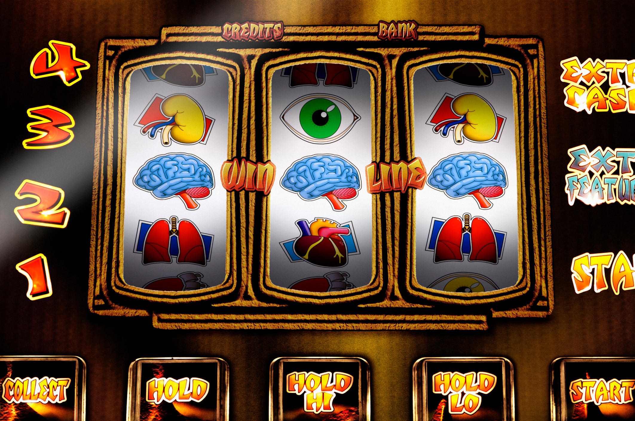 Fruit machine with health and physical themed reels, close up. (Getty Images)