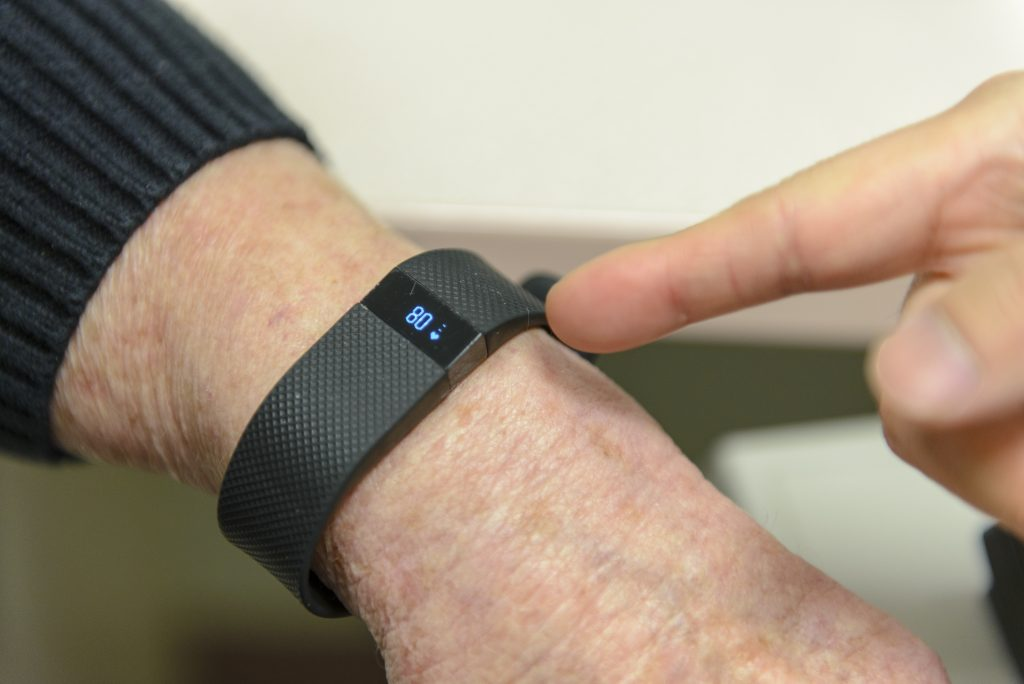 One of the measurements Fitbit shows is the wearer's resting heart rate. (Janine Gelineau/UConn Health Photo)