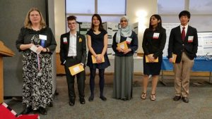 The five top students  earned an expense-paid trip to the upcoming National JSHS meeting in San Diego to present their research. The first place CT-JSHS finisher, Shobhita Sundaram of Greenwich High School, was offered a half-scholarship to UConn (Photo CT AHEC).