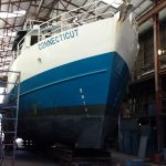 The R/V Connecticut inside the building where it will be split and lengthened. (UConn Marine Sciences Photo)