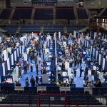 Students attend the 2017 Spring Career Fair in the Gampel Pavilion on Jan. 29, 2017. (Ryan Glista/UConn Photo)