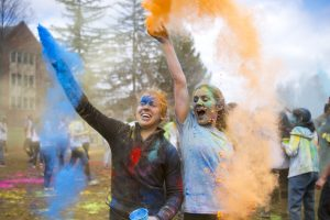 Students celebrate the Hindu festival of colors. (Ryan Glista/UConn Photo)