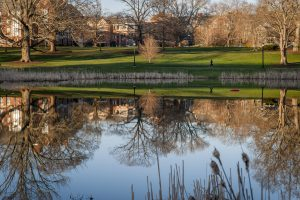 Reflection of South Campus on Mirror Lake. (Sean Flynn/UConn Photo)