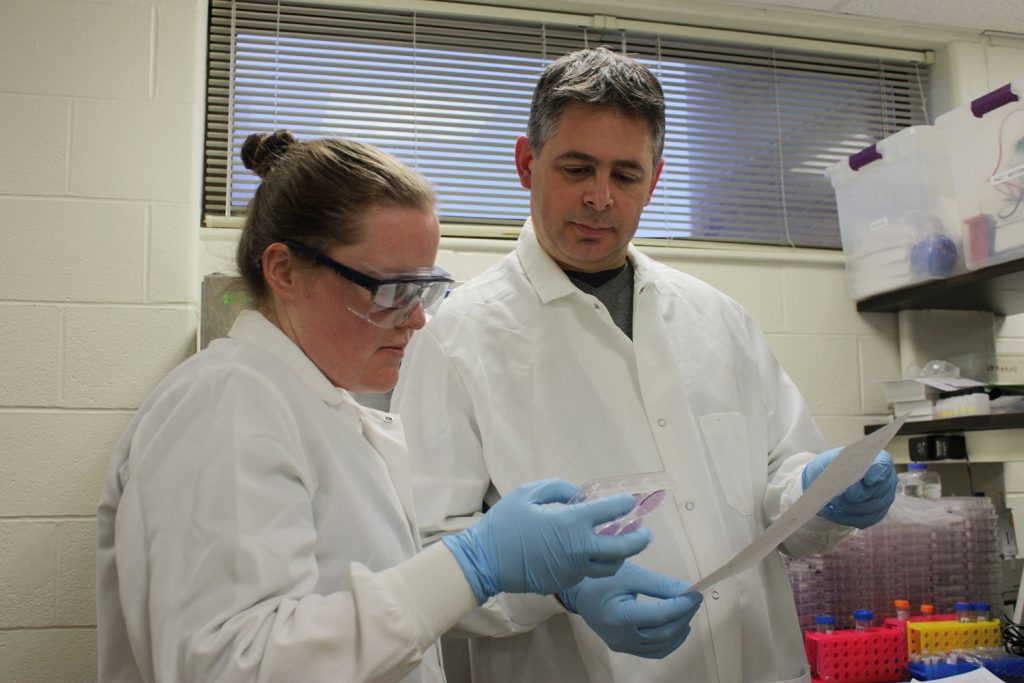 Paulo Verardi (right) with PhD student Brittany Jasperse (left).