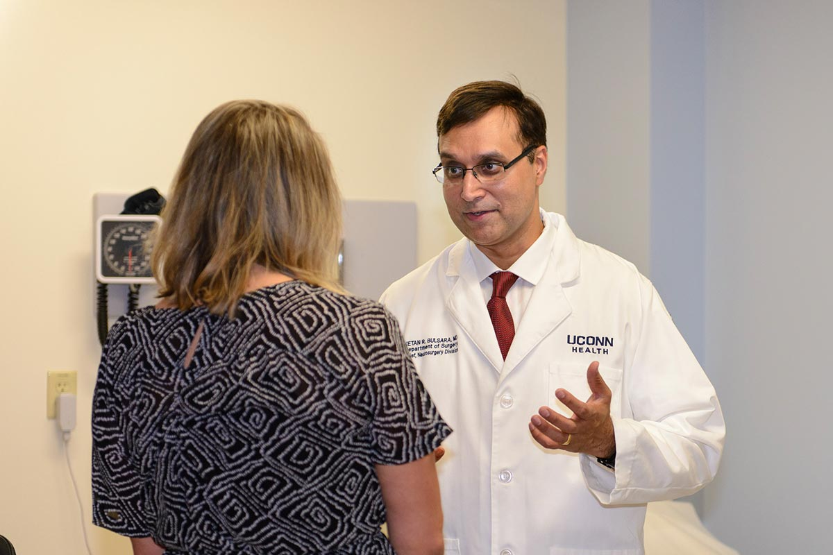 Dr. Ketan Bulsara, chief of the UConn Health Division of Neurosurgery, brings expertise in a range of treatment options for brain and spinal cord disease processes. (Photo by Janine Gelineau)