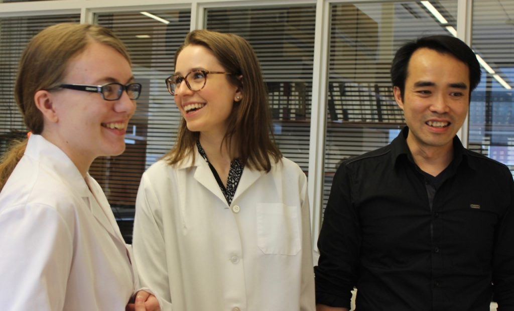 A lighter moment in the lab.