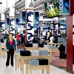 The main aisle in the renovated UConn Bookstore on Hillside Road. (Rendering by Barnes & Noble College)