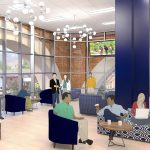 The student lounge in the renovated UConn Bookstore on Hillside Road. (Rendering by Barnes & Noble College)