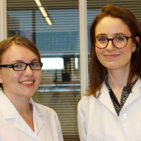 Recent graduates Caitlin Jagla '17 (CLAS), left, and Ashley Hine '17 (CLAS) are among the students who have gained research experience in pharmacy professor Debra Kendall's lab. (Sheila Foran/UConn photo)