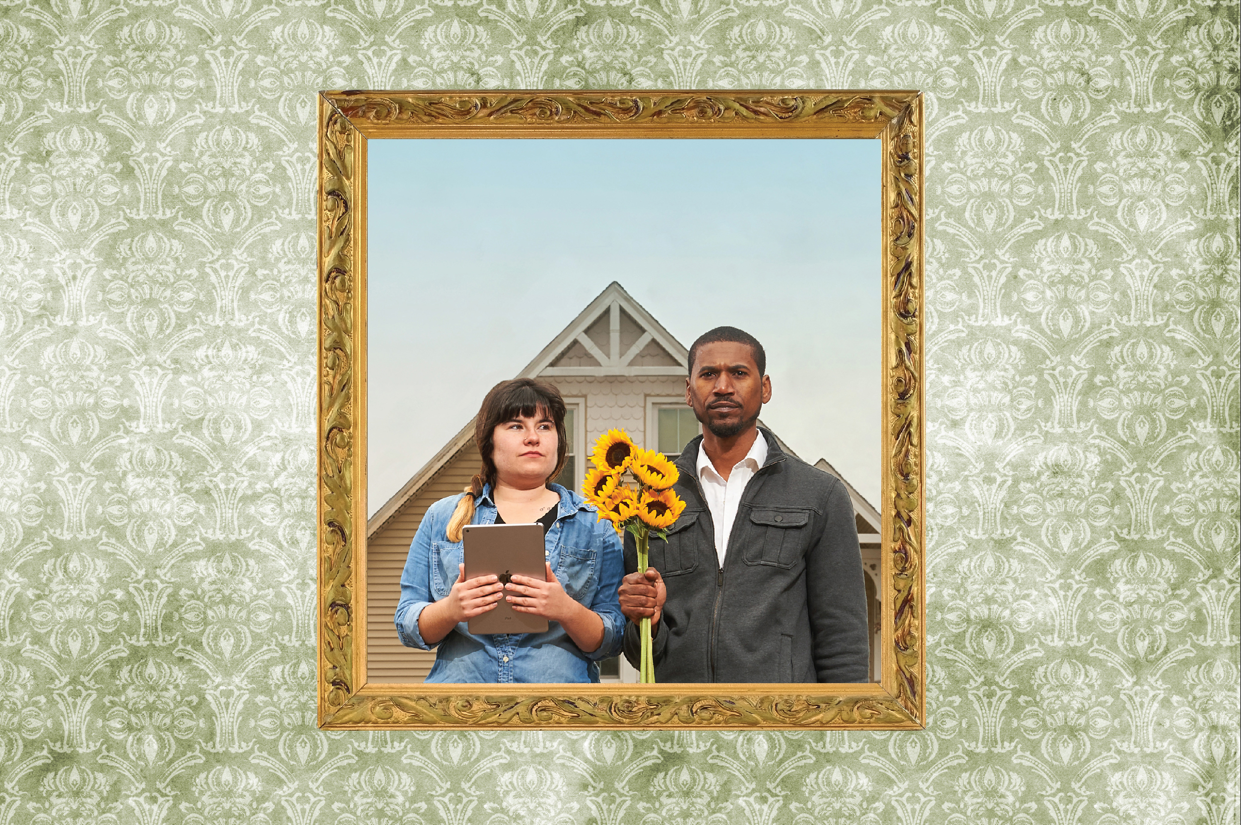 Agriculture students Marisa Kaplita and Macario Rodrigues pose 'American Gothic' style at UConn's Spring Valley Farm. (Photo Art by Peter Morenus & Christa Tubach)